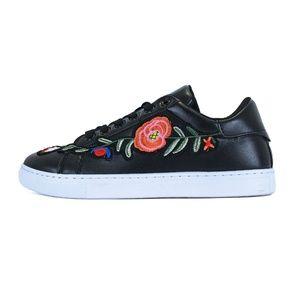 Black Embroidery slip on Platfor Sneaker Fireworks